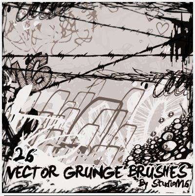 26 Vector Grunge Brushes ByStudioM6