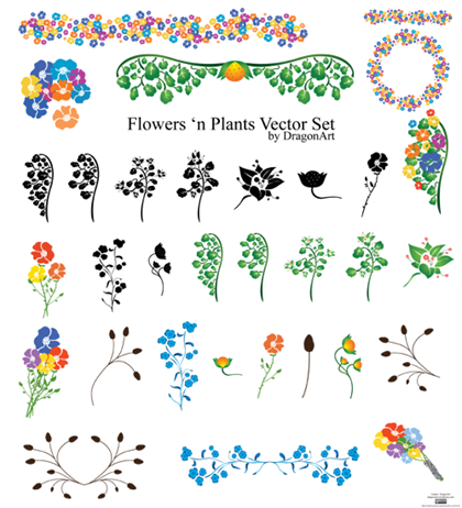 free flowers 39 n plants vector set free vector graphics