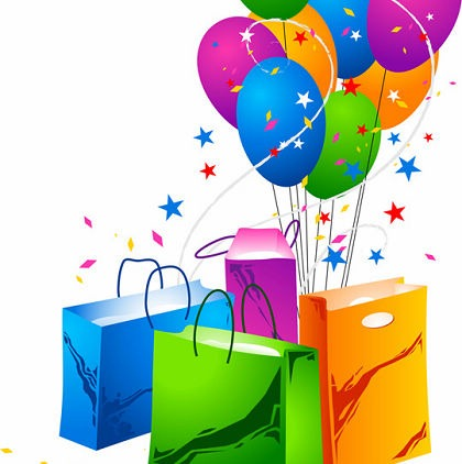 Festive Balloons and Shopping Bags Vector