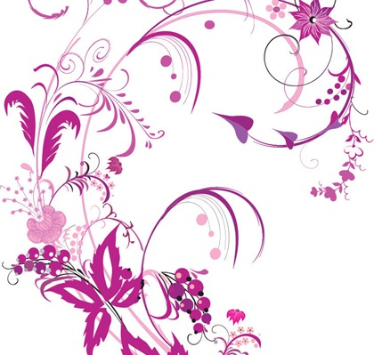 Flower Picture Color on Free Vector Graphic     Purple Swirls And Flowers   Free Vector