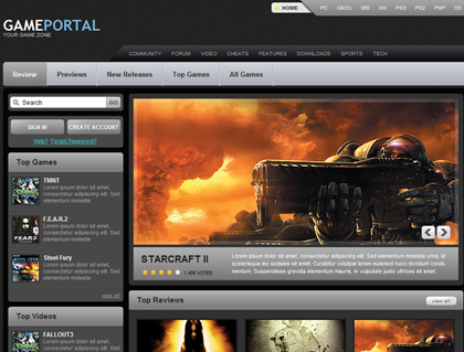 Free CSS Web Template - Game Portal