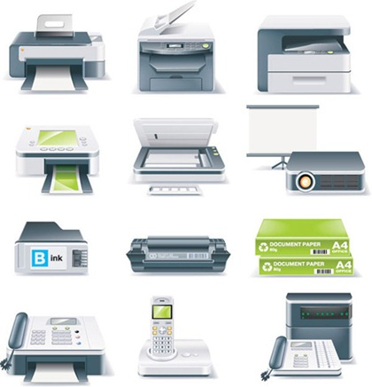 Printers, Fax Machines, Projectors and Other Office Equipment Vector