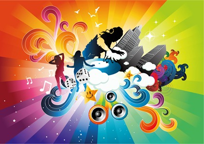 The trend of color vector theme music poster