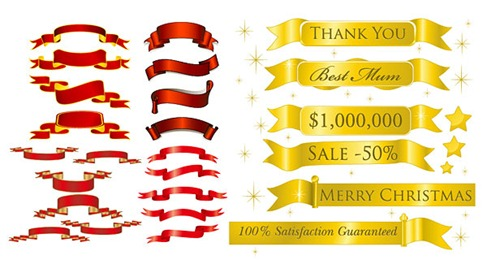 5 sets of festive ribbon banner vector material preview