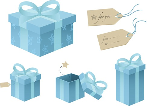 Blue gift box vector material (1)