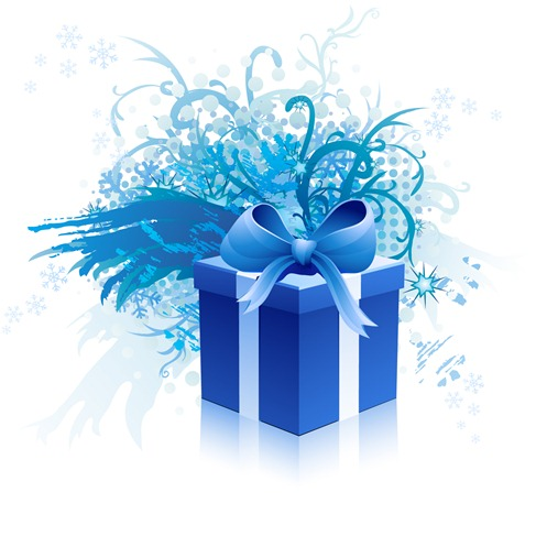 Blue gift box vector material (2)