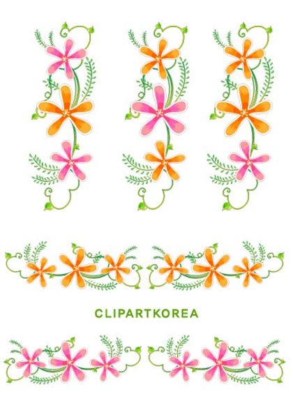 Flowers, fruit and butterfly lace Vector material (1)