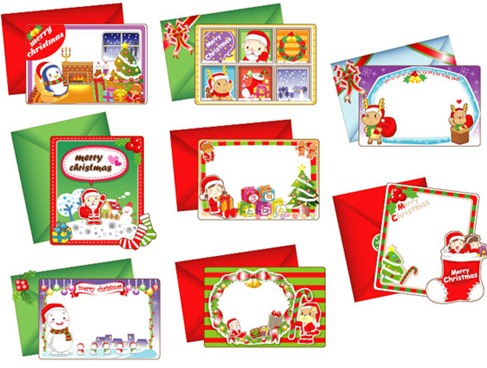 8 Lovely Christmas Vector Cards Preview