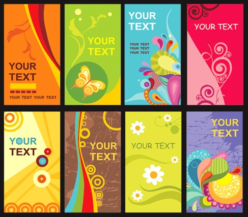 Colorful Floral Card Template Vector Material