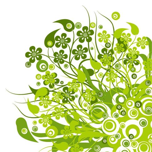 Green Floral Vector Graphic