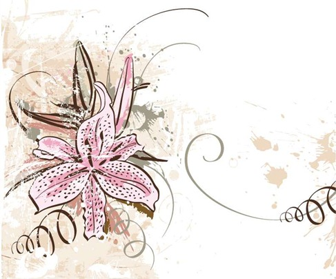 Lily with Grunge Floral Background Vector Graphic