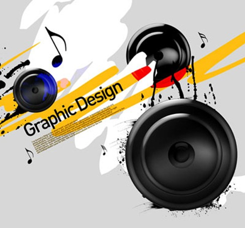 The trend of the ink background audio speakers PSD layered material