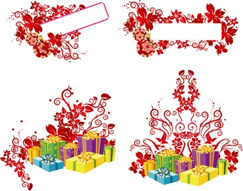 Christmas Floral &amp; Christmas Gift Box Vector Material