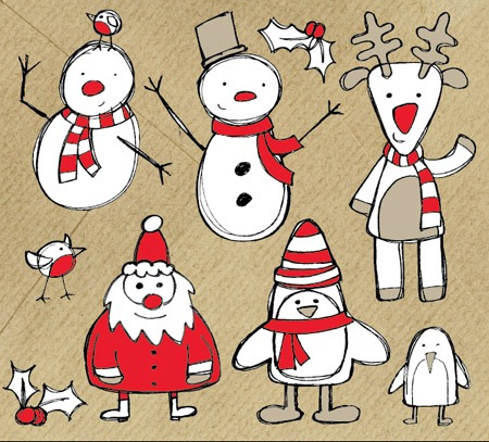 Free Christmas Themed Sketchy Vector Graphics Pack
