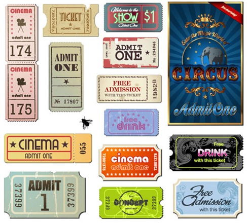 Vintage Movie Ticket Vector Set