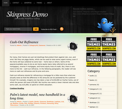 Free WordPress Theme - BlackPower Preview