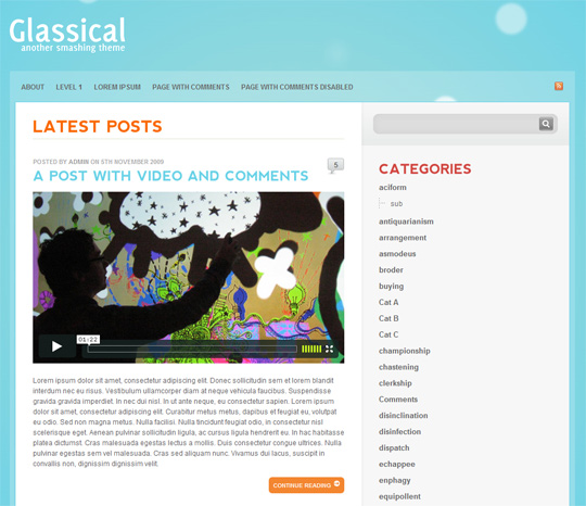 Free WordPress Theme - Glassical Preview