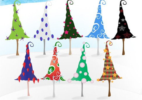 Whimsy_Christmas_Trees_Vectors Preview