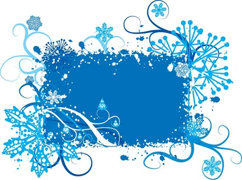 Blue Snowflake and Floral Background Vector Graphic Preview