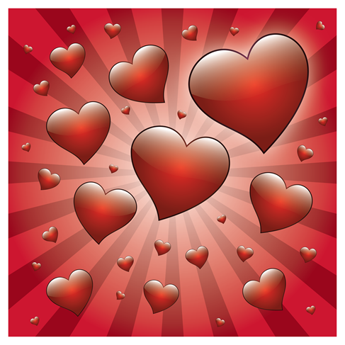 Free Valentine Heart with Rays Vector (2)