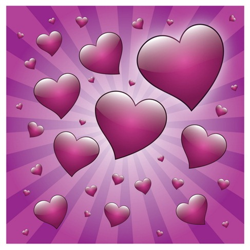 Free Valentine Heart with Rays Vector Preview