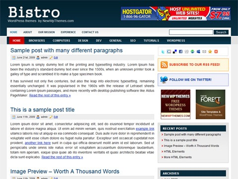Free WordPress Theme - Bistro Preview
