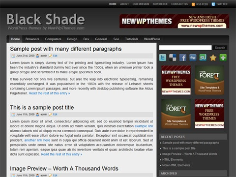 Free WordPress Theme - Black Shade Preview
