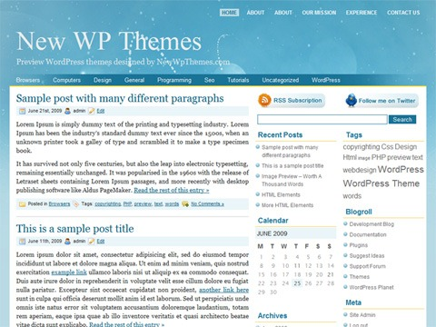 Free WordPress Theme - Blue Cosmos Preview