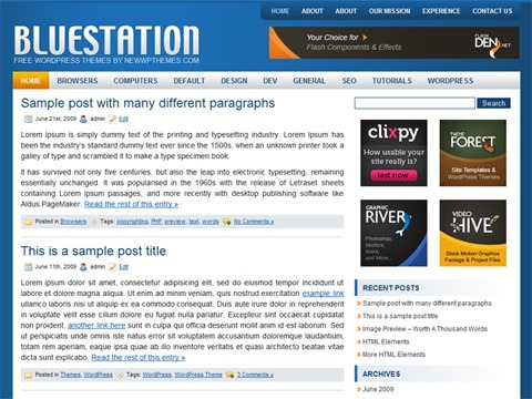 Free WordPress Theme - Blue Station Preview