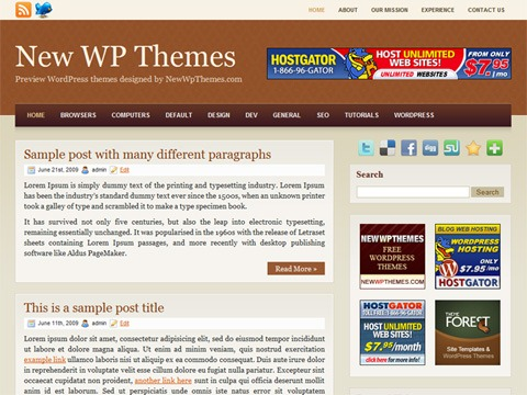 Free WordPress Theme - Browny Preview