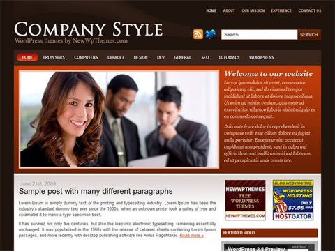 Free WordPress Theme - Company Style Preview