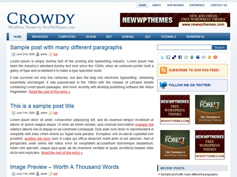 Free WordPress Theme - Crowdy Preview