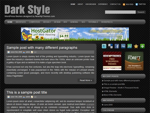 Free WordPress Theme - Dark Style Preview