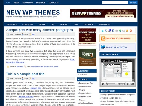 Free WordPress Theme - Groove Blue Preview