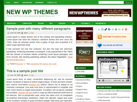 Free WordPress Theme - Groove Green Preview