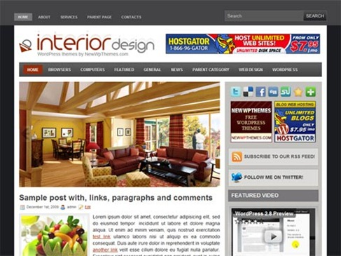Free WordPress Theme – Interior Design Preview