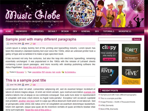 Free WordPress Theme - Music Globe Preview