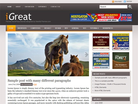 Free WordPress Theme - iGreat Preview