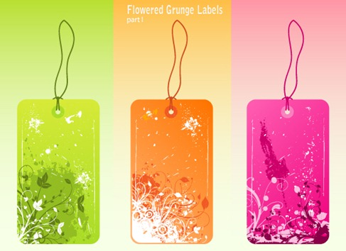Free Vector Flowered Grunge Labels Preview 1