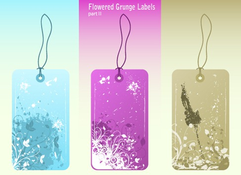 Free Vector Flowered Grunge Labels Preview 2