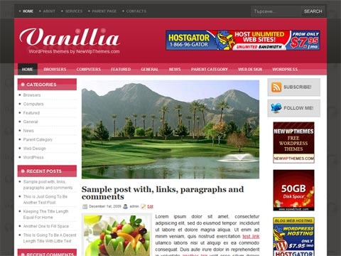Free WordPress Theme - Vanillia Preview