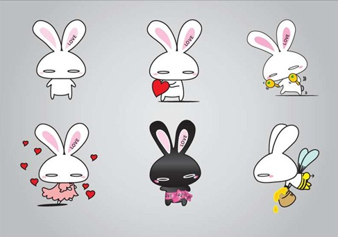 Rabbits Vector Illustration Preview
