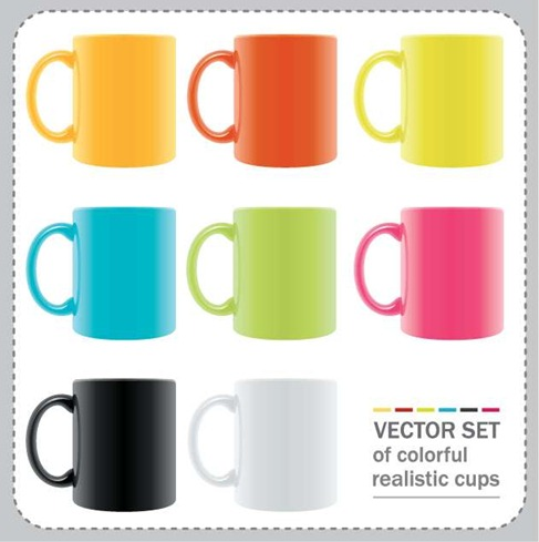 Vector Set of Colorful Realistic Cups Preview