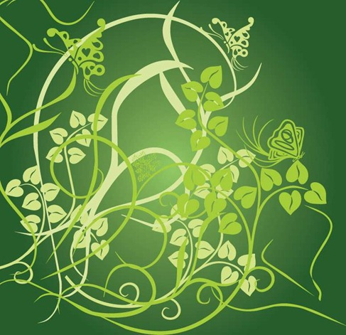 Floral Green Background Vector Preview