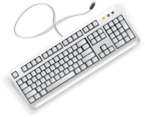White Computer Keyboard Vector