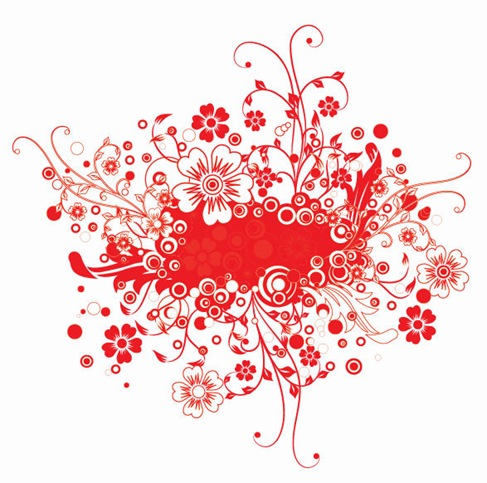 Red Floral Frame Vector Illustration