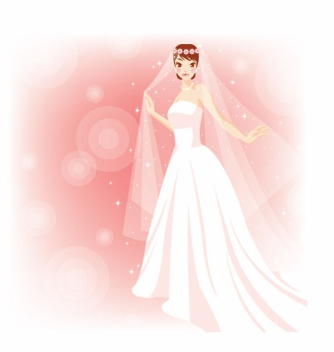 Beautiful Bride in The Wedding Vector Illustration