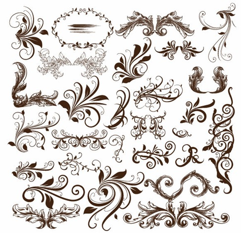 Swirl Floral Element Vector Illustration