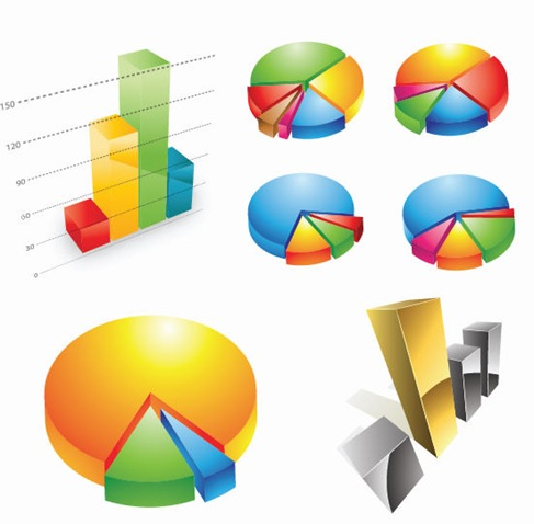 Three-dimensional Charts Vector Graphic