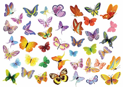 Vector Set of Butterflies Decoration